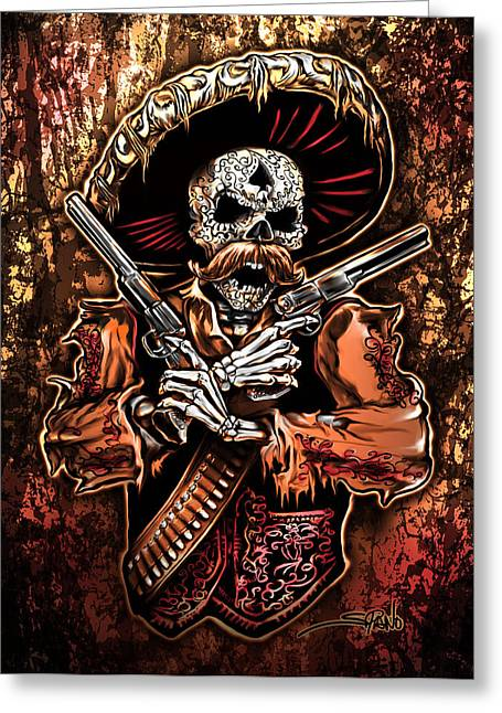 Mexican Fighters Greeting Cards - Day of the Dead Gunslinger Greeting Card by Michael Spano