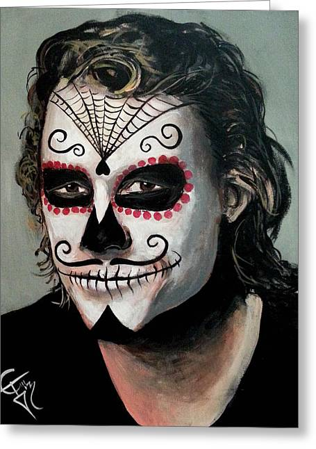 Heath Ledger Greeting Cards - Day of The Dead - Heath Ledger Greeting Card by Tom Carlton
