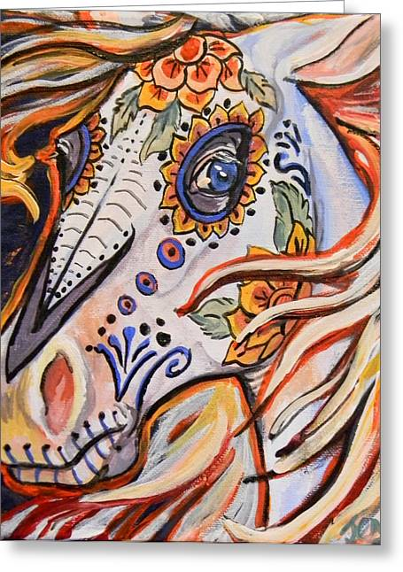 Jenn Cunningham Greeting Cards - Day of the dead horse Greeting Card by Jenn Cunningham