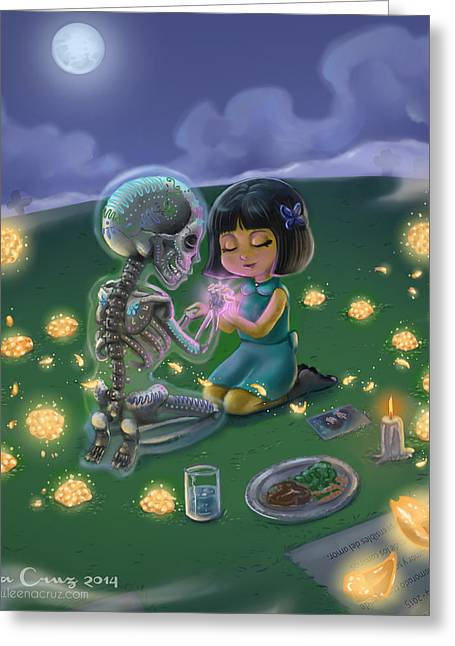 The Blue Moon Boys Greeting Cards - Day of the Dead Lovesong  Greeting Card by Leena Cruz