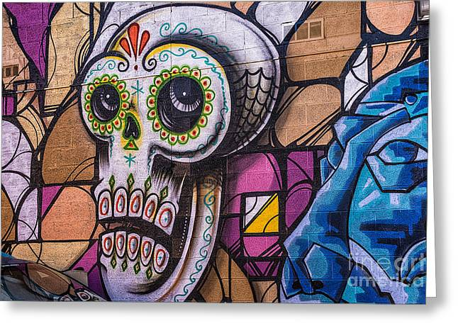 Mural Mixed Media Greeting Cards - Day of the Dead Mural Greeting Card by Terry Rowe