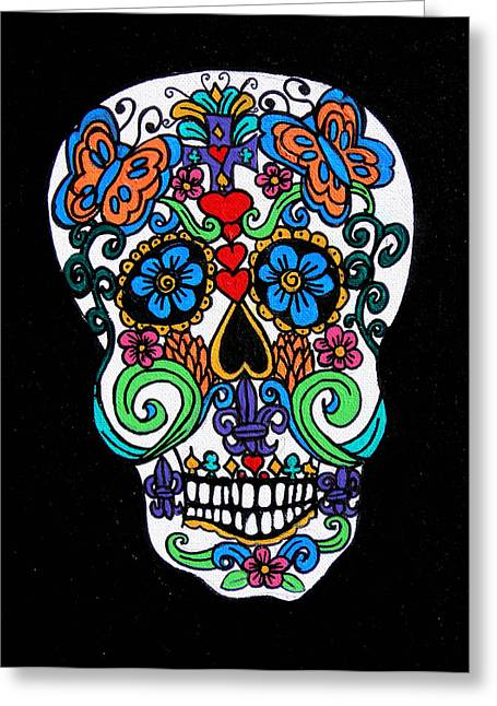 Mexican Fiesta Greeting Cards - Day Of The Dead Skull Greeting Card by Genevieve Esson