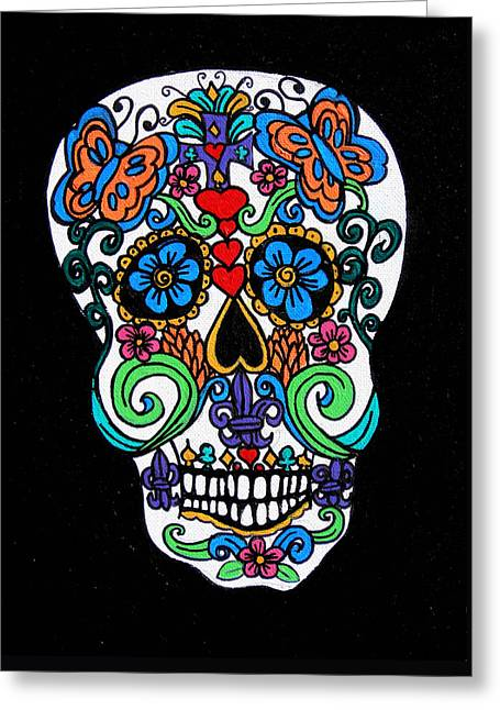 Day Of The Dead Skull Greeting Card by Genevieve Esson