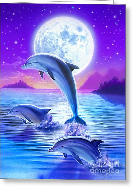 Spelled Greeting Cards - Day of the Dolphin Greeting Card by Robin Koni