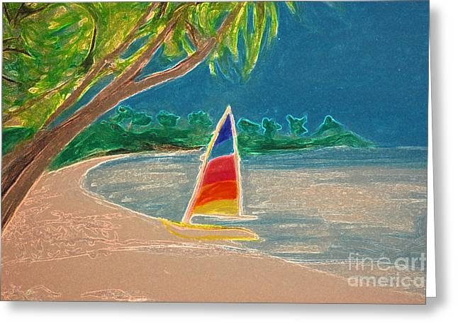 Sand Pastels Greeting Cards - Day Sailer Greeting Card by First Star Art