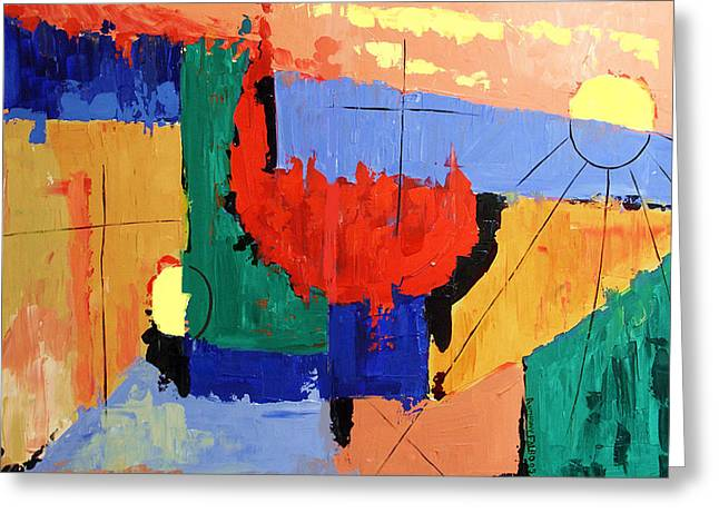 Christian Abstract Art Greeting Cards - Day Seven Rest Greeting Card by Anthony Falbo