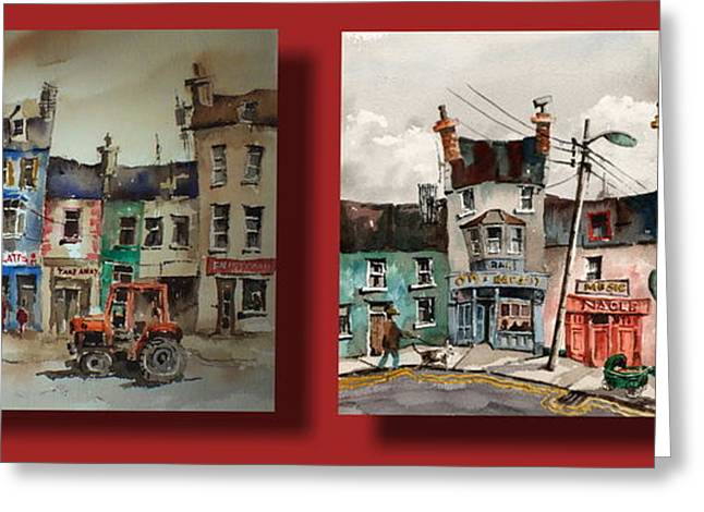 Ennistymon Greeting Card featuring the painting Day To Day Ennistymon Clare by Val Byrne