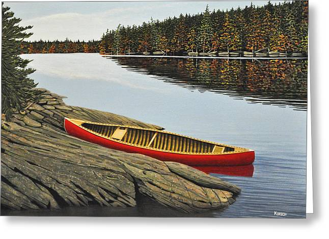 Canoe Paintings Greeting Cards - Day Tripper Greeting Card by Kenneth M  Kirsch