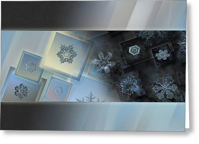 Frost Greeting Cards - Snowflake collage - Daybreak Greeting Card by Alexey Kljatov
