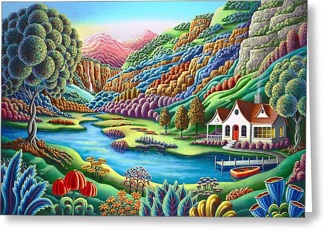 Mythical Landscape Greeting Cards - Daybreak Greeting Card by Andy Russell