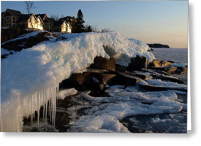 Snow Scene Landscape Greeting Cards - Daybreak at Cove Point Lodge Cottages Greeting Card by Melissa Peterson