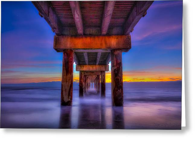 Fishing Pier Greeting Cards - Daybreak At The Pier Greeting Card by Marvin Spates