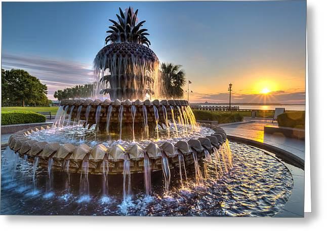 Charleston Greeting Cards - Daybreak in Charleston Greeting Card by Walt  Baker