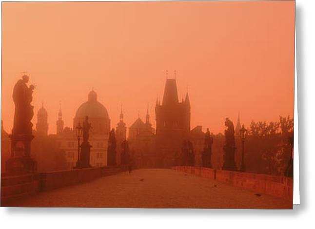 Praha Greeting Cards - Daybreak Karluvmost Praha Czech Republic Greeting Card by Panoramic Images