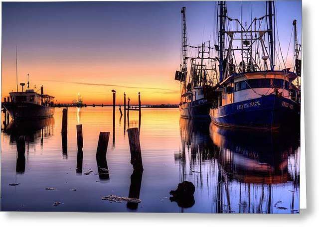 Florida Panhandle Greeting Cards - Daybreak on Pensacola Bay Greeting Card by JC Findley