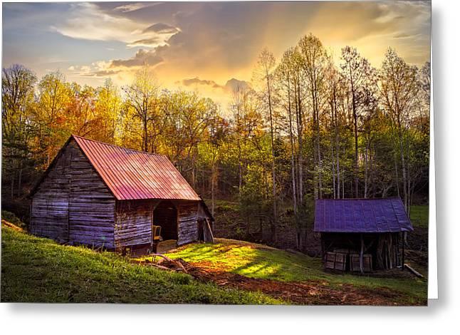 Daybreak On The Farm Greeting Card by Debra and Dave Vanderlaan