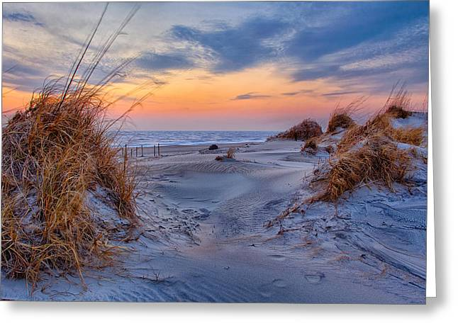Ocean Art Photography Greeting Cards - Daybreak on the Outer Banks 1 Greeting Card by Dan Carmichael