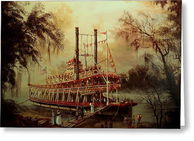 Riverboats Greeting Cards - Daybreak on the River Greeting Card by Tom Shropshire