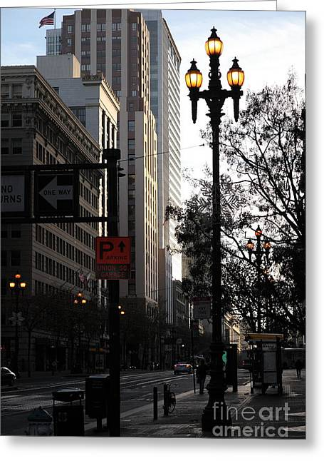 Palace Hotel Greeting Cards - Daybreak Over San Francisco Market Street - 5D20608 Greeting Card by Wingsdomain Art and Photography