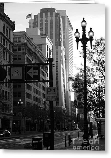 Palace Hotel Greeting Cards - Daybreak Over San Francisco Market Street - 5D20613 - Black and White Greeting Card by Wingsdomain Art and Photography