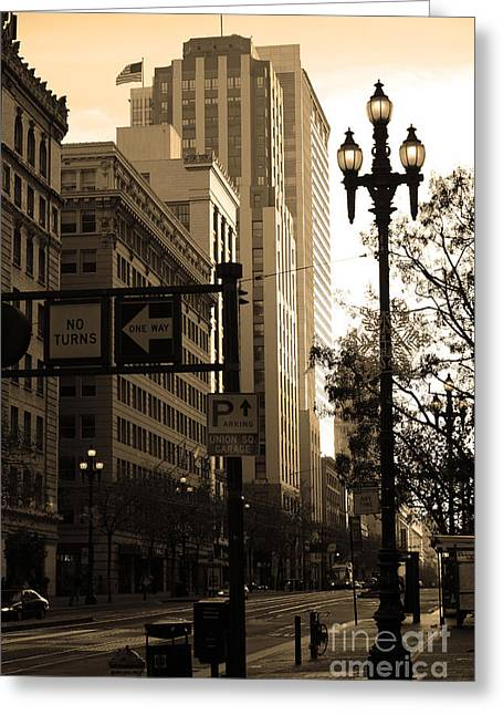 Palace Hotel Greeting Cards - Daybreak Over San Francisco Market Street - 5D20613 - Sepia Greeting Card by Wingsdomain Art and Photography