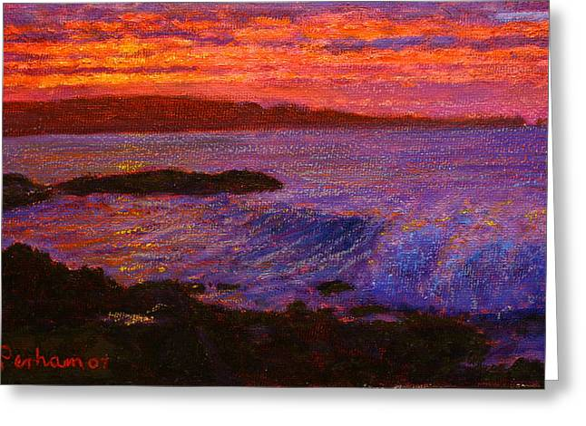 Terry Perham Pastels Greeting Cards - Daybreak Porpoise bay Greeting Card by Terry Perham