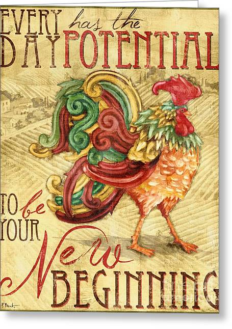 Dine Greeting Cards - Daybreak Rooster I Greeting Card by Paul Brent