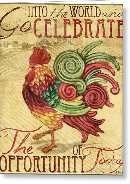 Dine Greeting Cards - Daybreak Rooster II Greeting Card by Paul Brent