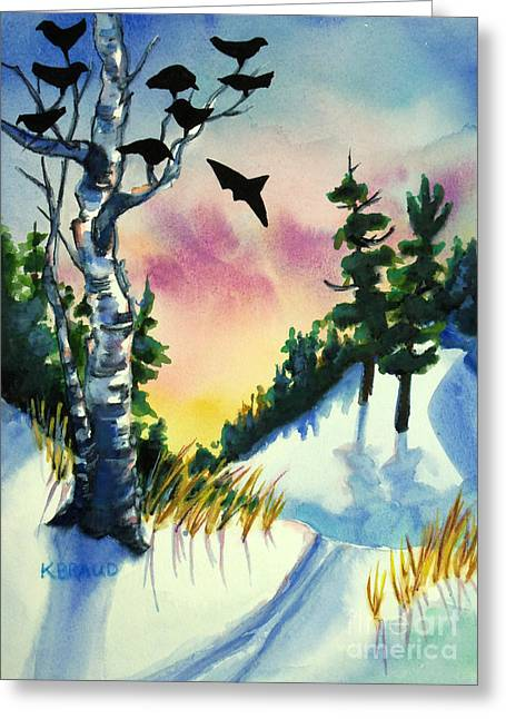 Ski Art Greeting Cards - Daybreak Ski              Greeting Card by Kathy Braud