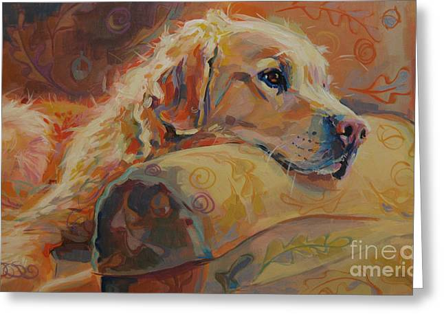 Yellow Dog Paintings Greeting Cards - Daydream Greeting Card by Kimberly Santini