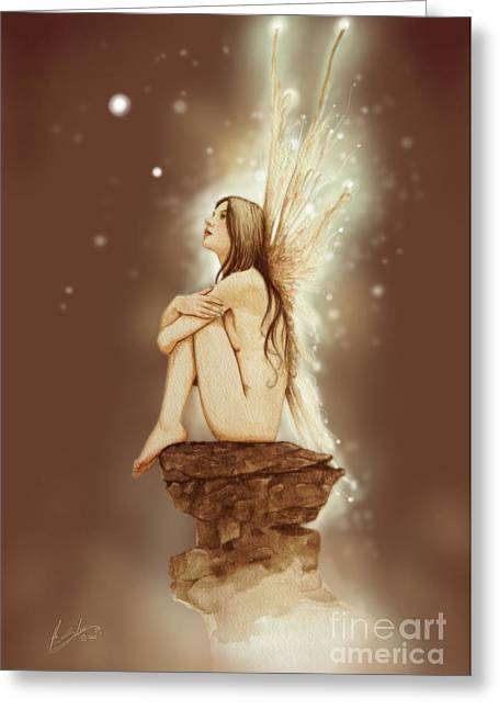 Fantasy Art Greeting Cards - Daydreaming Faerie Greeting Card by John Silver