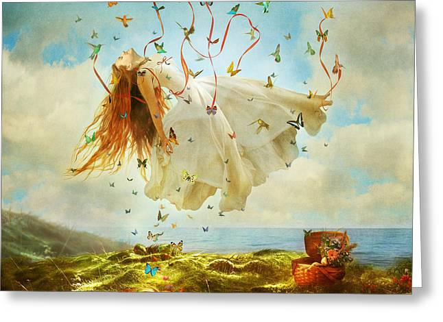 Floating Girl Greeting Cards - Daydreams Greeting Card by Aimee Stewart