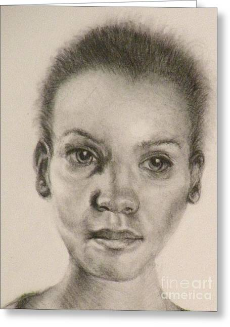 African-american Drawings Greeting Cards - Daydreams Drawing Greeting Card by Susan A Becker