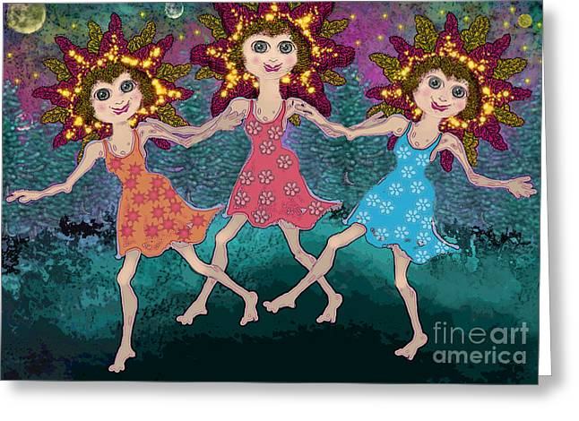Moon Greeting Cards - Daylight Dancers Greeting Card by Carol Jacobs