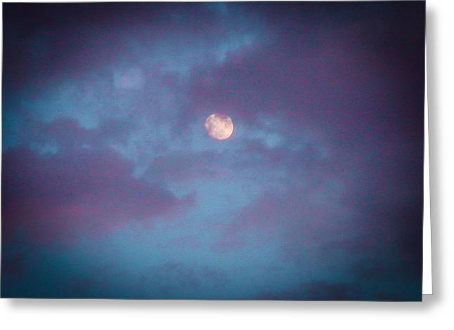 Daylight Moon Greeting Card by Robert J Andler