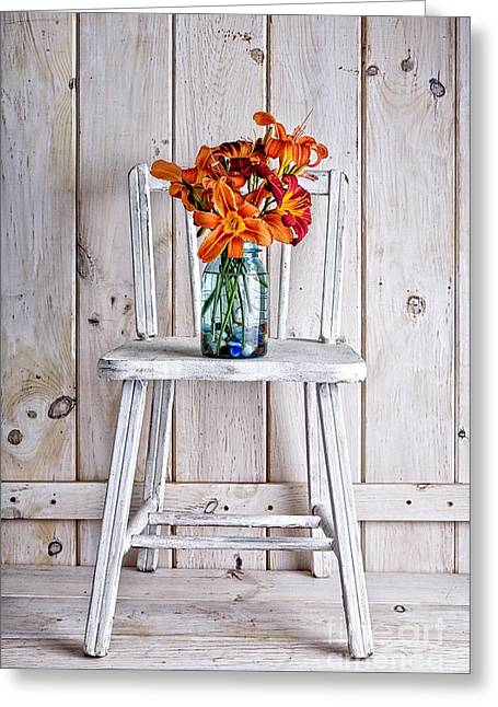 Day Lilly Greeting Cards - Daylillies on a white chair Greeting Card by Edward Fielding
