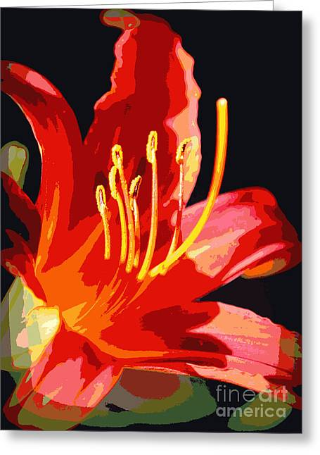 Floral Digital Art Greeting Cards - Daylily Flame Greeting Card by Carol Groenen