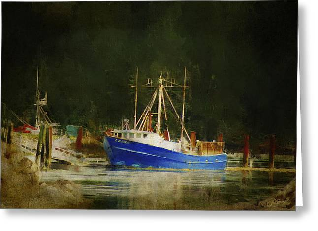 Docked Boats Digital Greeting Cards - Days End Greeting Card by Dale Stillman