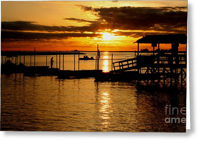 Fishing Boats Greeting Cards - Days End in The Sunshine State Greeting Card by Ross Lewis