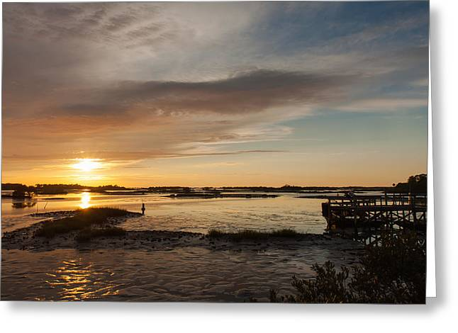 Cedar Key Greeting Cards - Days End Greeting Card by John Bailey