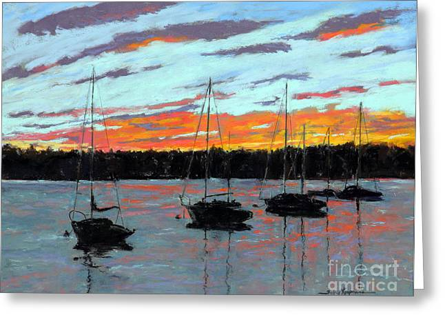Maine Landscape Pastels Greeting Cards - Days End Greeting Card by Shelley Koopmann