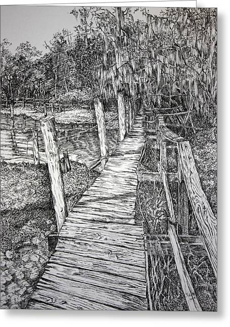 Florida Bridge Drawings Greeting Cards - Days Gone By Greeting Card by Janet Felts