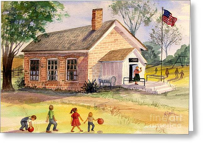 One Room School Houses Paintings Greeting Cards - Days Gone By Greeting Card by Marilyn Smith