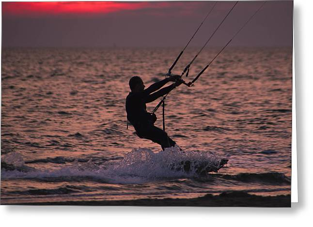 Kite Boarding Greeting Cards - Days Last Run  Greeting Card by Charles Stackpole