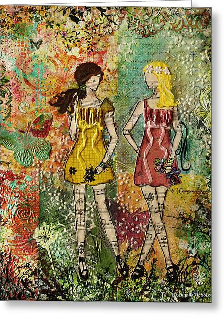 Whimsical Mixed Media Greeting Cards - Days Like These Unique botanical Mixed Media artwork of sisters and friends Greeting Card by Janelle Nichol