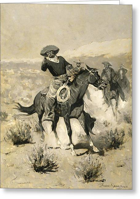 Remington Paintings Greeting Cards - Days on the Range Greeting Card by Frederic Remington
