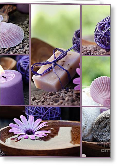 Mythja Greeting Cards - Dayspa violet collage Greeting Card by Mythja  Photography