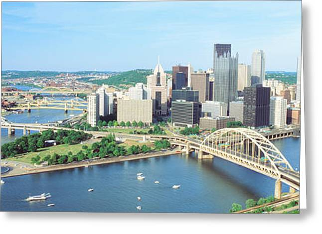 Pa Greeting Cards - Daytime Skyline With The Delaware Greeting Card by Panoramic Images