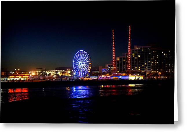 Amusements Greeting Cards - Daytona at Night Greeting Card by Laurie Perry