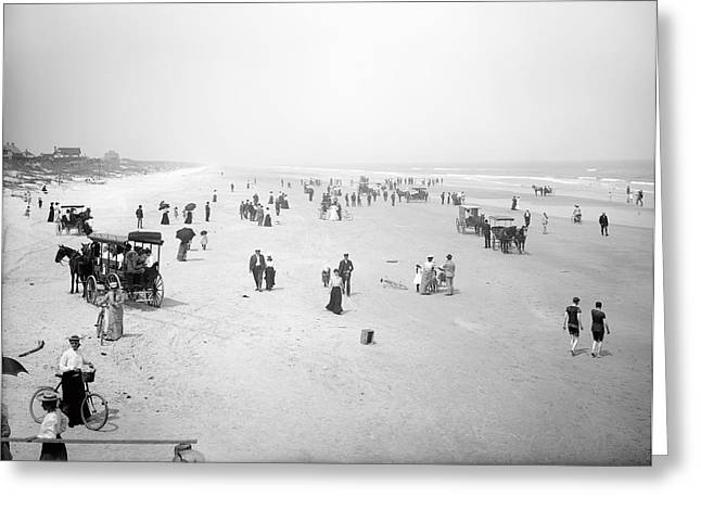Sunday Stroll Greeting Cards - Daytona Beach Florida  1904 Greeting Card by Daniel Hagerman